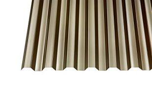 Polycarbonat Wellplatten Profilplatten Trapez 7618 bronce ohne Struktur 2500 x 310x205 - Polycarbonat Wellplatten Profilplatten Trapez 76/18 bronce ohne Struktur 2500 x 1040 mm